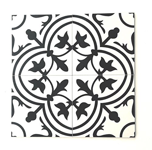 8x8 Flora Black White Porcelain Tile by Squarefeet Depot (10pcs)