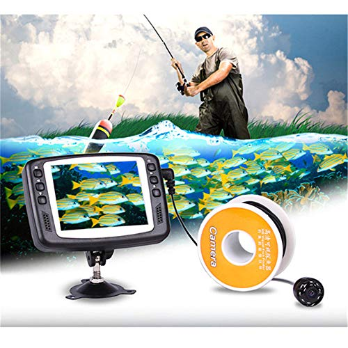 JIASHU Cámara de Pesca subacuática, cámara de búsqueda de Pesca portátil HD1000 TVL Cámara infrarroja LED a Prueba de Agua con Monitor LCD de 3.5 Pulgadas para Ice Lake Sea Boat Kayak Fishing