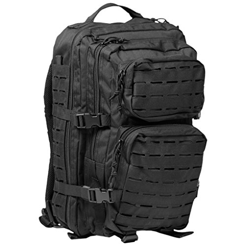 Mil-Tec, US Assault Pack - Zaino grande, taglio laser, Uomo donna unisex, US Assault Pack Laser Cut, nero, L