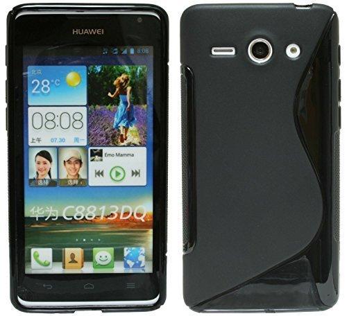 ENERGMiX Silikon Hülle kompatibel mit Huawei Ascend Y530 Schale Tasche in Schwarz