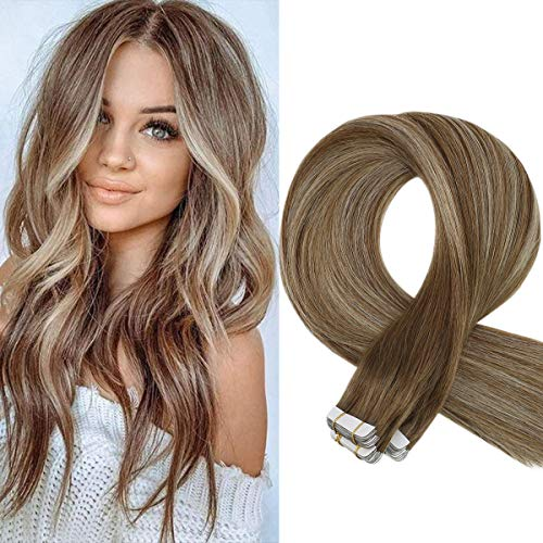 Sunny Tape in Hair Extensions Human Hair Balayage Tape in #6 Light Brown Fading to #60 Platinum Blonde Mixed #6 Tape on Remy Hair Extensions 14 inch 20 pcs 50g