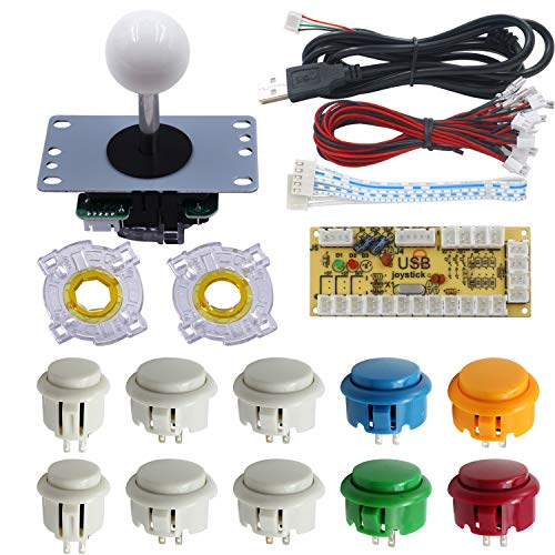 SJJX DIY Arcade Game Button and Joystick Controller Kit for Rapsberry Pi and Windows,5 Pin Joystick and 10 Push Buttons 822a08 Mix White