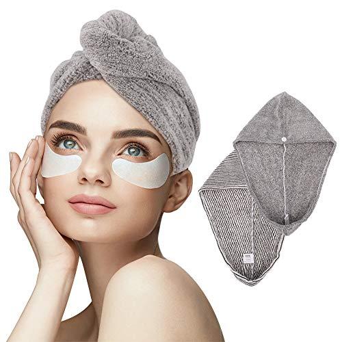 Toallas turbantes de microfibra, 2 unidades, secado rápido, absorbentes, con botón, para todos los tipos de cabello