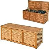 gymax cassapanca contenitore in legno di acacia, baule da giardino con coperchio e maniglia, utilizzabile all'interno e all'esterno, portata 150 kg, 120 x 45 x 45 cm, legno