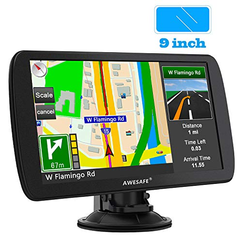 AWESAFE GPS Navigation for Car 9 inch Touch Screen Car GPS North America Lifetime Map Update