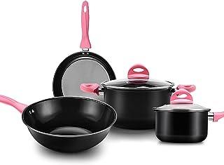 Cookware Set, Four-Piece Non-Stick Pan, Cooking Pan, Soup Pot, Frying Pan, Milk Pan, Compound Bottom/Deep Large Capacity/W...