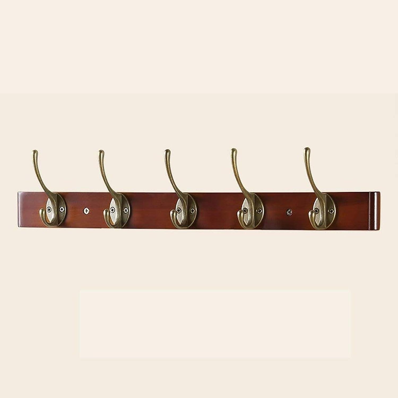 NSHUN Decorative Ball End Hooks Antique Brass on Rustic Light Wooden Rack Board Hanger