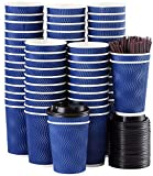 Disposable Coffee Cups with Lids and Straws - 12 oz (90 Set) Togo Hot Paper Coffee Cup with Lid To Go for Beverages Espresso Tea Insulated Reusable Cold Drinks Ripple Cups Protect Fingers From Heat!