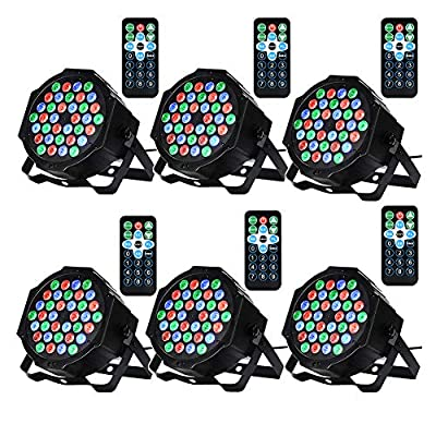 LUNSY DJ Lights, 36LED Stage Light Sound Activated, Remot and DMX Control, Uplighting Lights for Events, Party, Wedding, Festival - 6 Pack