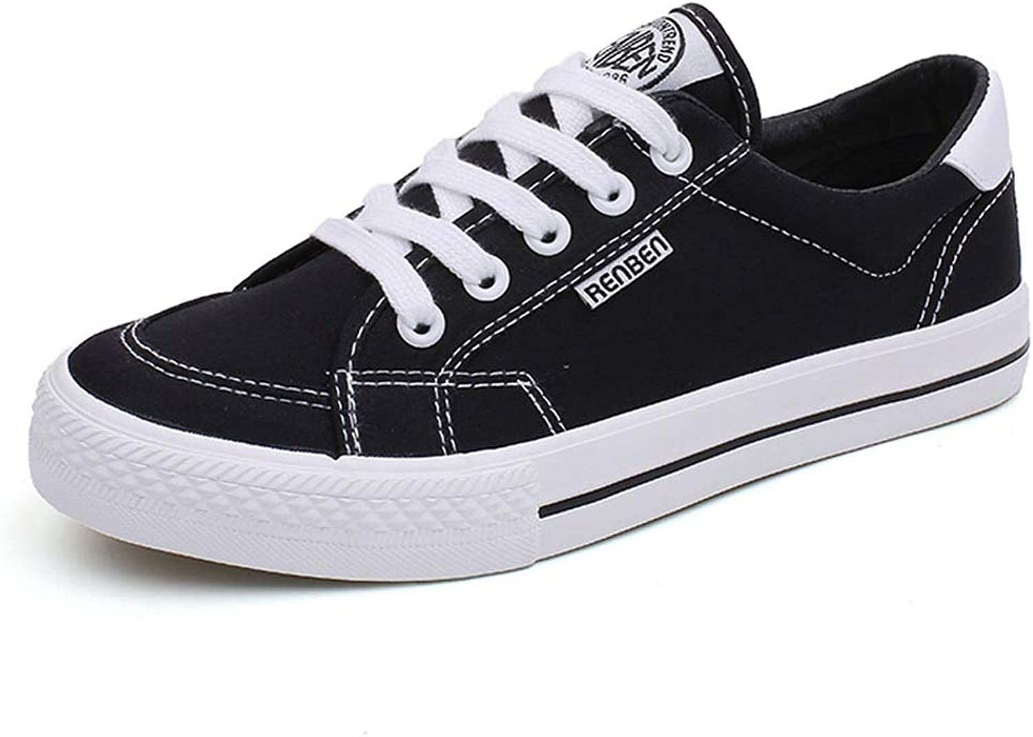 Fashion Black Low Top Canvas shoes Women's Comfortable Lace Up Sneakers Flat Casual shoes