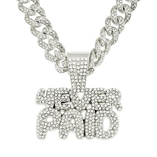RXSHOUSH Hiphop Collar con colgante de letra circón de 50 cm de oro/plata cubana cadena hombres y mujeres pareja joyería collar colgante plata