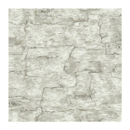 York Wallcoverings Lake Forest Lodge Birch Bark Removable Wallpaper, Off White