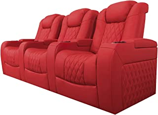 Valencia Tuscany Top Grain Nappa Leather Power Reclining, Power Lumbar, Power Headrest Home Theater Seating (Row of 3, Red)