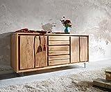 DELIFE Kommode Live-Edge Akazie Natur 147 cm 2 Türen 3 Schübe Glasbeine Baumkante Sideboard