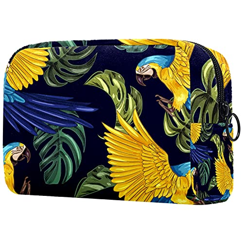 KAMEARI Bolsa de cosméticos Dibujado a mano Realista Plantas Tropicales Animales Grande Cosméticos Bolsa Organizador Multifuncional Bolsas