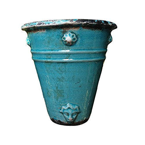 Old World Roman Style Wall Hanging Planter in Teal Cracked Ice Ceramic...