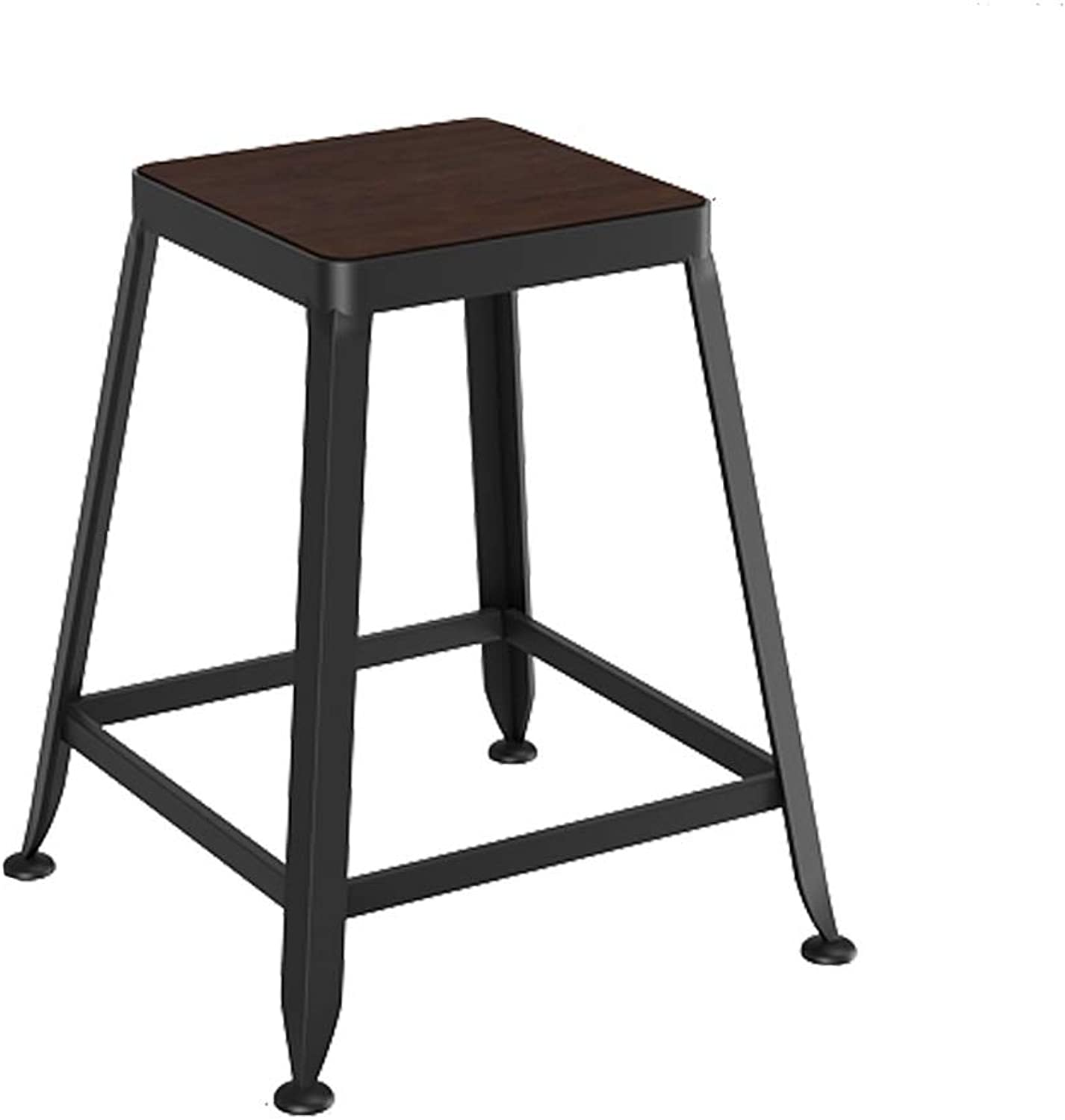 Bar Backrest Chair Industrial Retro Solid Wood Seat Simple Design Metal High Leg Stool for Cafe Counter Sturdy 0522A (color   No backrest, Size   45cm high)
