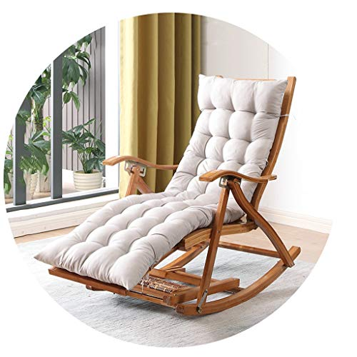 XEWNEG Folding Bambus Schaukelstuhl, Haus Old Man Mittagspause Massivholz Lounge Chair, 5 Verstellbare Rücken Stühle, Mit Wattepads Und Dehnbare FußMassager (Color : Wood Color+Gray Cotton pad)