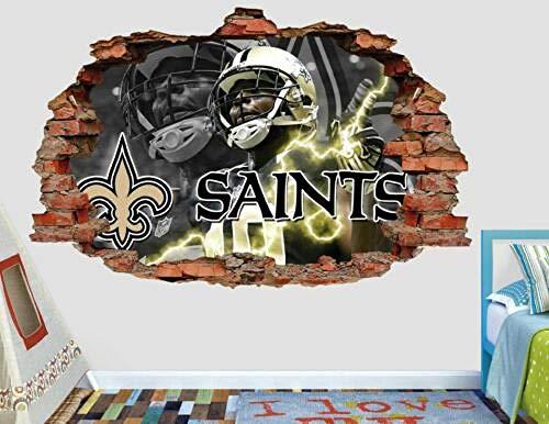 MIWNXM New Orleans Saints Fottball NFL Benutzerdefinierte zertrümmerte 3D-Wandtattoo Aufkleber Vinyl26x22 inch