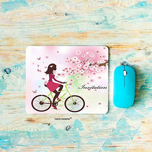 HGOD DESIGNS Girl Gaming Mouse Pad,Cartoon Spring Beautiful Girl On The Bike with Butterfly Flower Mousepad Rectangle Non-Slip Rubber Mouse Pads(7.9'X9.5')