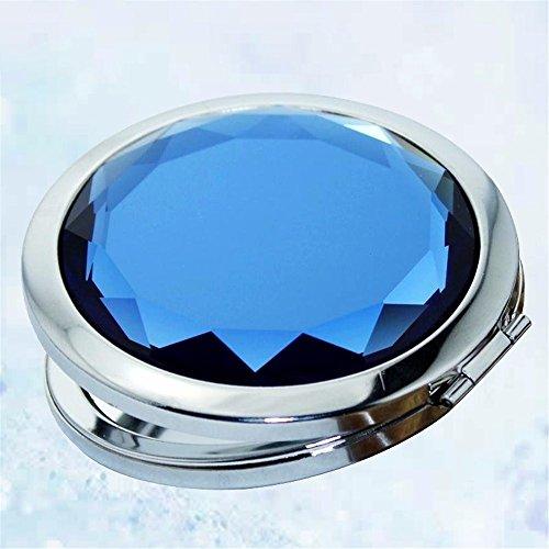 WanJiaMen'Shop Portable Specchio per Makeup Doppia Piega Piccolo Specchio Princess Dresser Specchio, 7cm, Blu