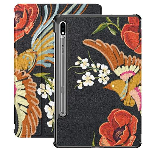 Funda Galaxy Tablet S7 Plus de 12,4 Pulgadas 2020 con Soporte para bolígrafo S, Bordado con Motivos Florales Coloridos, Funda Protectora Tipo Folio con Soporte Delgado japonés para Samsung