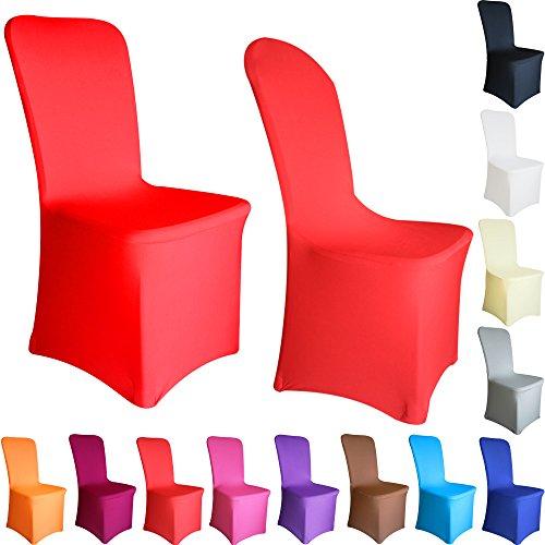 Time to Sparkle Lot de 50 Housse de Chaise Extensible en élasthanne Lycra Couverture Chaise pr Décoration Mariage Cérémonie Banquet Plat Devant (Rouge-Plat)