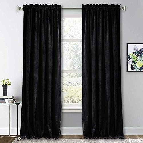 RYB HOME Black Velvet Curtains for Bedroom - Soft Blackout Window Curtain Panels Thermal Insulated...