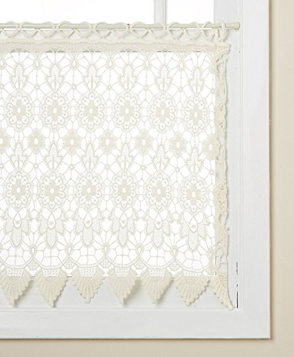 "Lorraine Home Fashions 00106-36-00010 Medallion Tailored Window Curtain Tier, 35"" x 36"", Ecru"