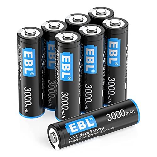 EBL Pack de 8 pilas AA de litio de 3000 mAh, 1,5 V, de alto rendimiento para mandos a distancia, juguetes, cámaras digitales...