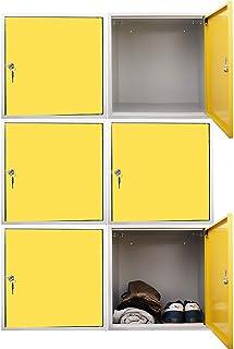 Mega Deal Lot de 6 cubes de rangement pour salle de bains Jaune 45 x 45 x 45 cm