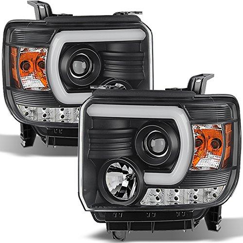For GMC Sierra 1500/2500/3500 Pickup Black Bezel DRL LED Light Tube Projector Headlights Replacement