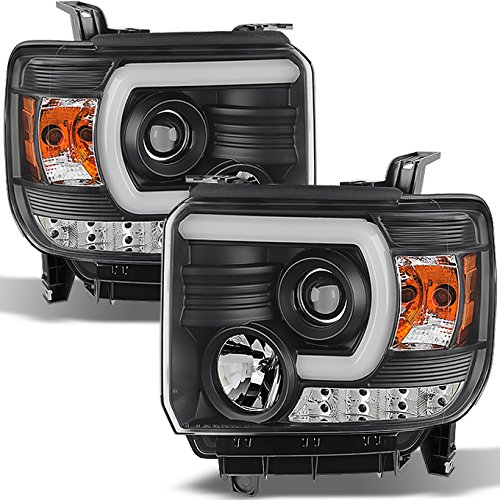 For GMC Sierra 1500/2500/3500 Pickup Black Bezel DRL LED Light Tube Projector Headlights Replacement