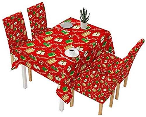 Elegante y lujoso Soft Christmas Papá Noel estampado Tela Mantel de tela a prueba de aceite Cuadro de tela cuadrada Cubre Decoraciones de Navidad para Navidad Navidad Decoración de fiesta Set de 5 pie