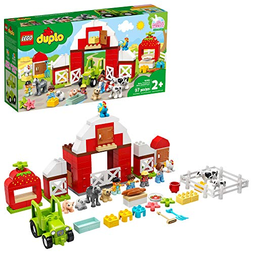 LEGO DUPLO Town Barn, Tractor & Farm Animal Care 10952 Playset with People Figures and Cute Pony, Pig, Dog, Sheep, Cow, Calf, Rooster and Chicken Toys; Great Learning Toy, New 2021 (97 Pieces)