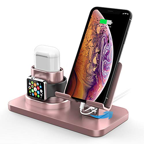 180°Rotation Phone Charger Stand Holder,3in1 Charger Dock, Charging Stand for iPhone/Apple Watch/Airpods/ipad and Most Smartphones (Rose Gold)