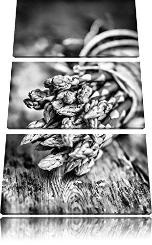 Asperges op houten tafelFoto Canvas 3 deel | Maat: 120x80 cm | Wanddecoraties | Kunstdruk | Volledig gemonteerd