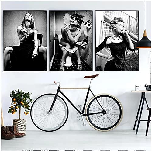 Pintura en lienzo, carteles e impresiones de fumar de dama en blanco y negro, imágenes artísticas de pared de creatividad, dormitorio, decoración del hogar, sin marco