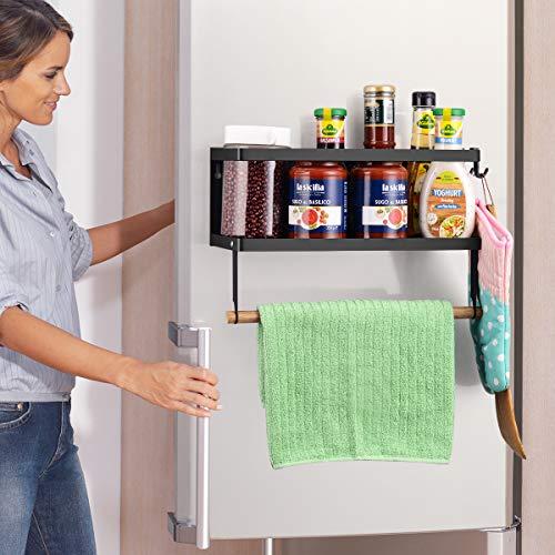 Estante de cocina magnético para frigorífico, soporte para frigorífico, soporte magnético fuerte para especias, apto para tamaño de paños de papel, vino de botella, cuarto de baño 2,5 x 10,2 x 3,1