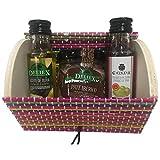 Baúl de madera y mimbre multicolor con miniaturas de Aceite, Vinagre y tarro de paté ibérico para eventos (Pack 24 ud)
