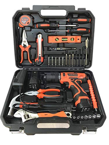 COLMAX Power Tools Combo Kit 35 PCS, With 16.8V Cordless Drill(2 Batteries!) and Household Repairing Mixed Tools, Daily Use Home Repairing Tool Set