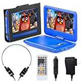 eXuby 11.5' Portable DVD Player for Car, Plane & More - 7 Car & Travel Accessories Included - 9' Swivel Screen - Whopping 6 Hour Battery Life - Perfect Portable DVD Player for Kids - Blue