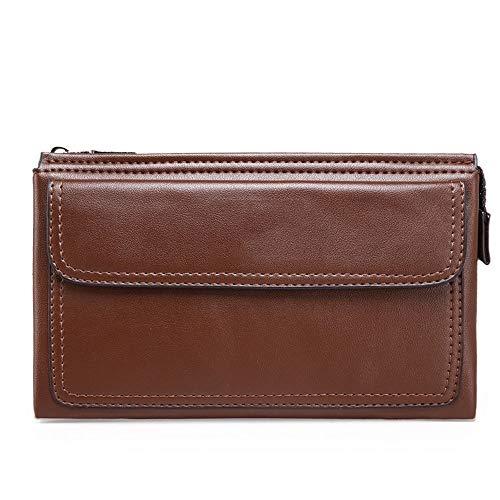 Sebasty Bolso de mano para hombre, casual, de negocios, de tres capas, multifuncional, 23 x 2 x 14 cm (color: marrón)