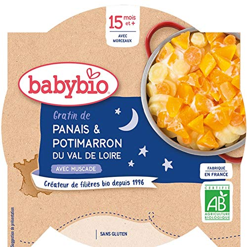 Babybio - Bonne Nuit - Assiette Gratin de Panais Potimarron du Val de Loire 260 g - 15+ Mois - BIO