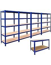4 x depo rafı, raf, garaj, takmalı raf, çelik raf, atölye rafı, 180 cm x 90 cm x 45 cm, yüksekliği ayarlanabilir ve Q-Ray çalışma tezgahı, atölye masası, montaj tezgahı, 120 cm, mavi, set halinde, kauçuk çekiç dahil
