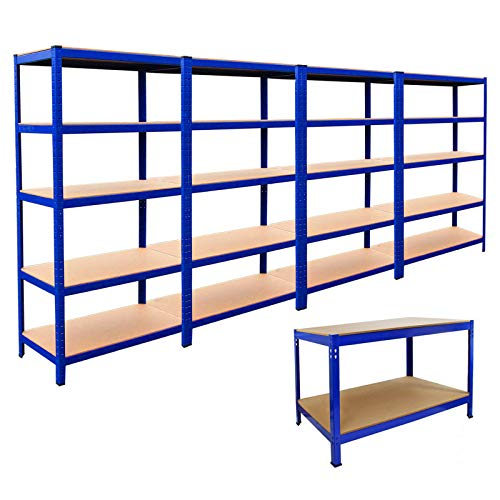 Garage Racking and Workbench Shelving Shed Shelves Storage Units Organisation Blue Metal | 4 Bay 180cm x 90cm x 45cm