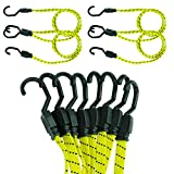 Houseables Bungee Cords with Hooks, Bungie Straps, 4 Pack, 48 Inch Long, Flat, Premium Rubber, Bungy Chords, Adjustable, Long Bungi Rope for Dolly, Upcart, Car Trunk, Camping, Luggage, Moving