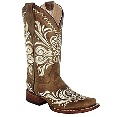 Corral Circle G Women's Diane Embroidery Square Toe Leather Cowgirl Boots - Tan
