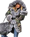 Aofur Femmes Camouflage Manteau à Capuche Hiver Coat Chic Casual Vestes Parka Grande...