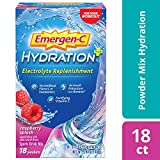 Includes 18 single-serving packets (0.33-ounce each) of Emergen-C Hydration+ in Raspberry flavor Emergen-C Hydration+ is made with key electrolytes to replenish you and Vitamin C to fortify you Hydration powder formula features as much potassium as a...